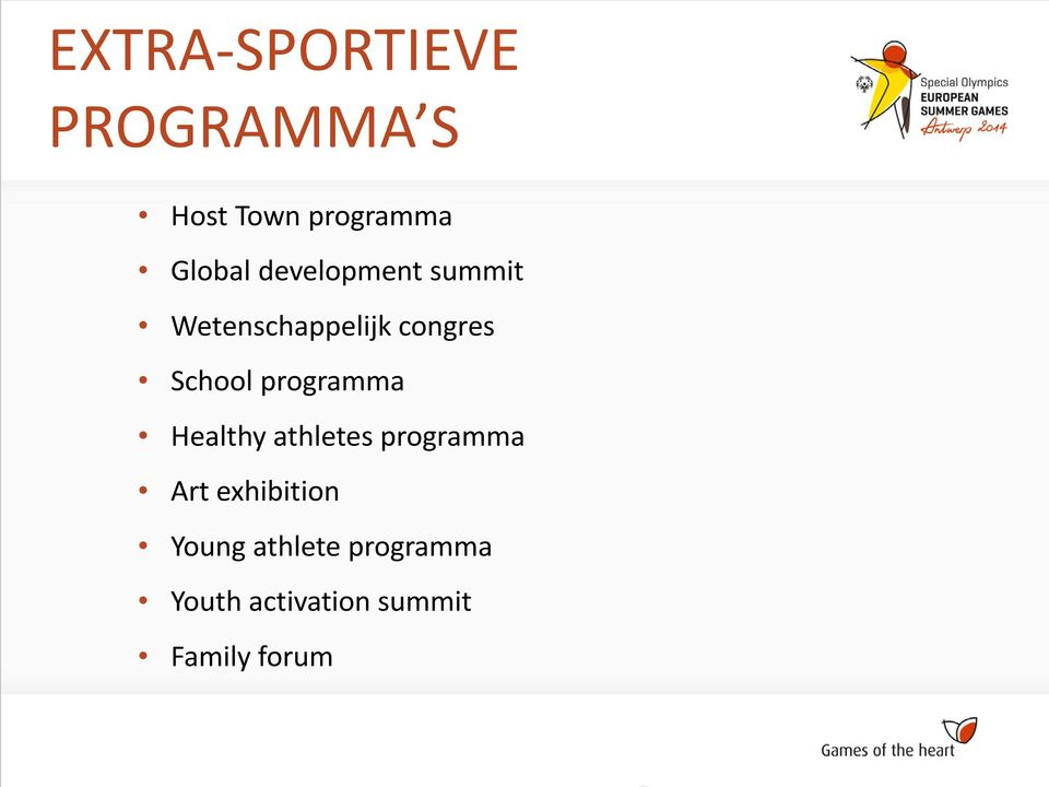 programma Healthy athletes programma Art exhibition