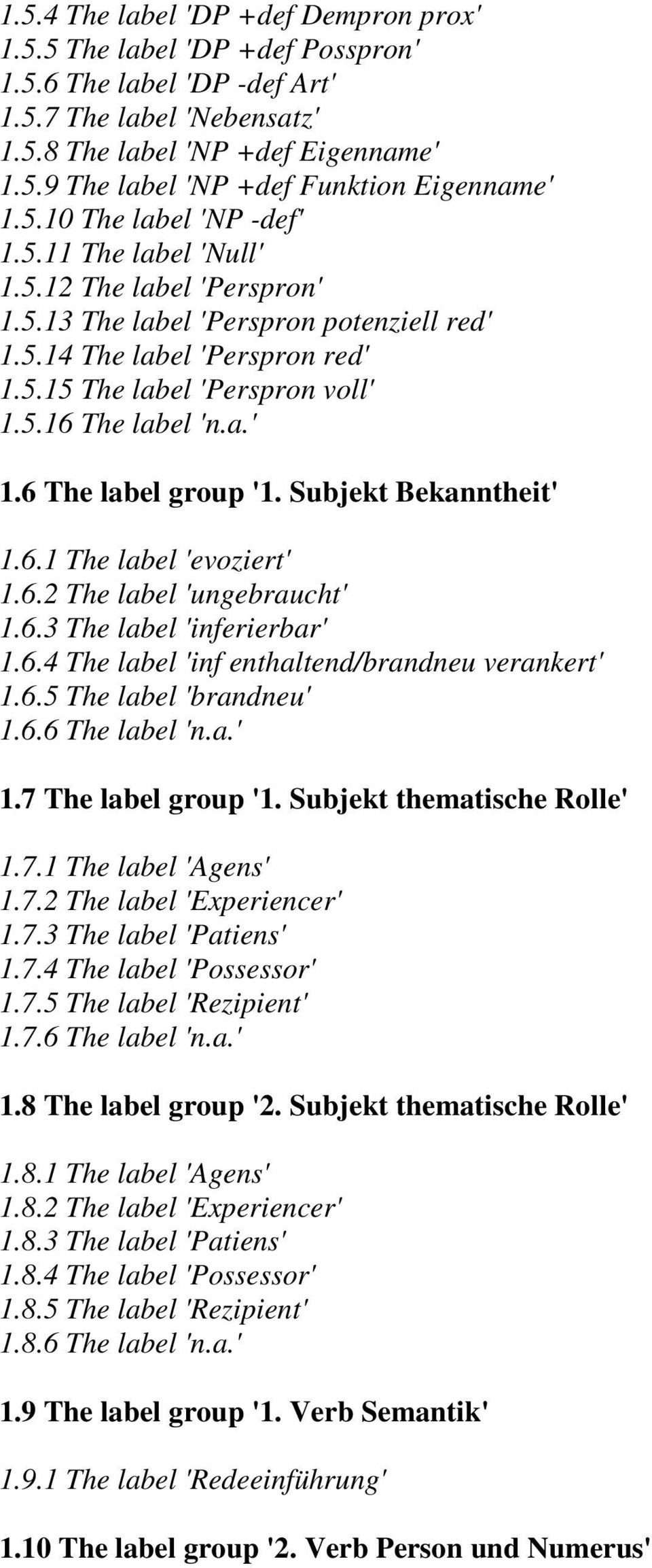 a.' 1.6 The label group '1. Subjekt Bekanntheit' 1.6.1 The label 'evoziert' 1.6.2 The label 'ungebraucht' 1.6.3 The label 'inferierbar' 1.6.4 The label 'inf enthaltend/brandneu verankert' 1.6.5 The label 'brandneu' 1.