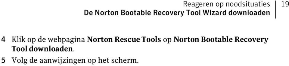 webpagina Norton Rescue Tools op Norton Bootable