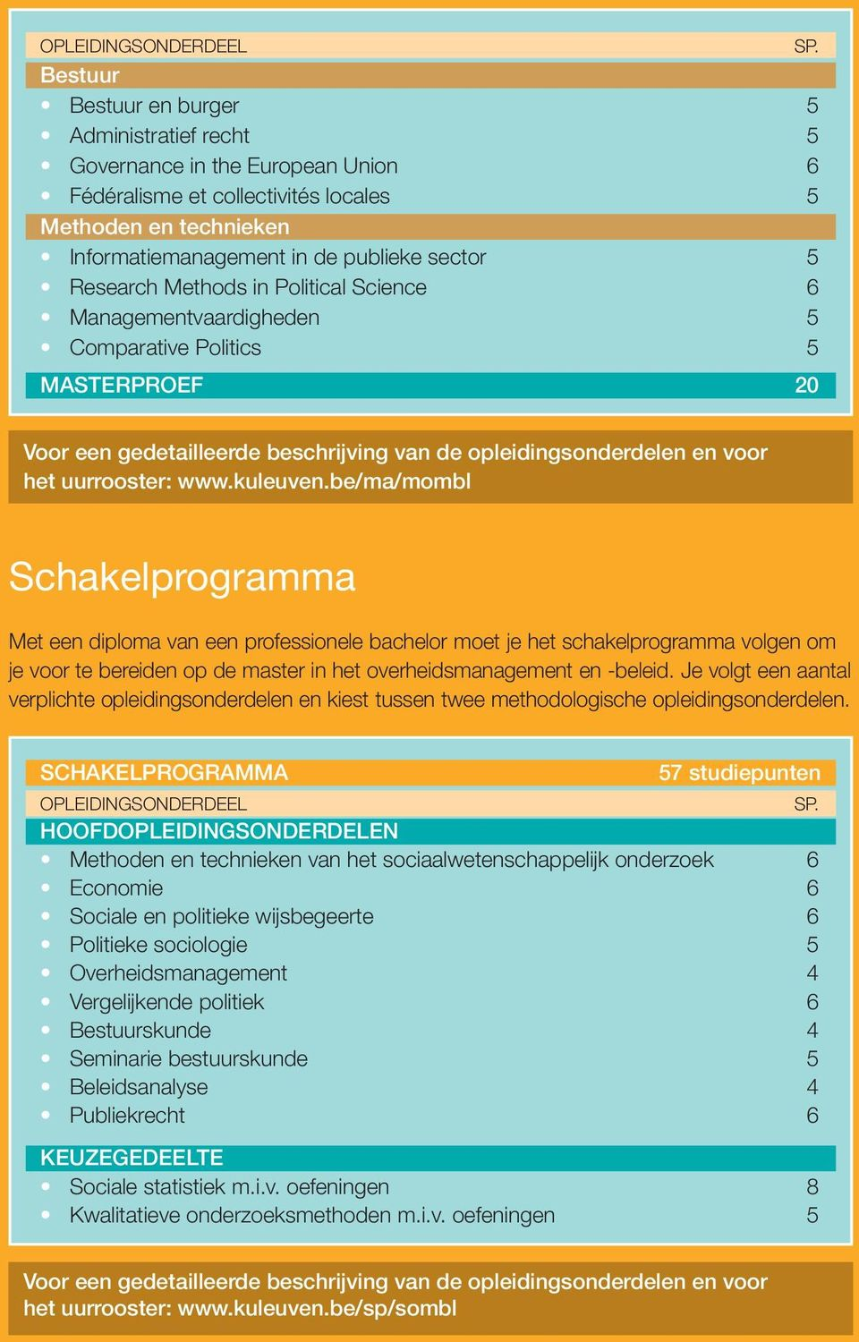 Research Methods in Political Science 6 Managementvaardigheden 5 Comparative Politics 5 MASTERPROEF 20 Voor een gedetailleerde beschrijving van de opleidingsonderdelen en voor het uurrooster: www.