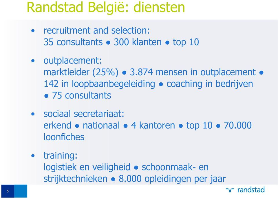 874 mensen in outplacement 142 in loopbaanbegeleiding coaching in bedrijven 75 consultants