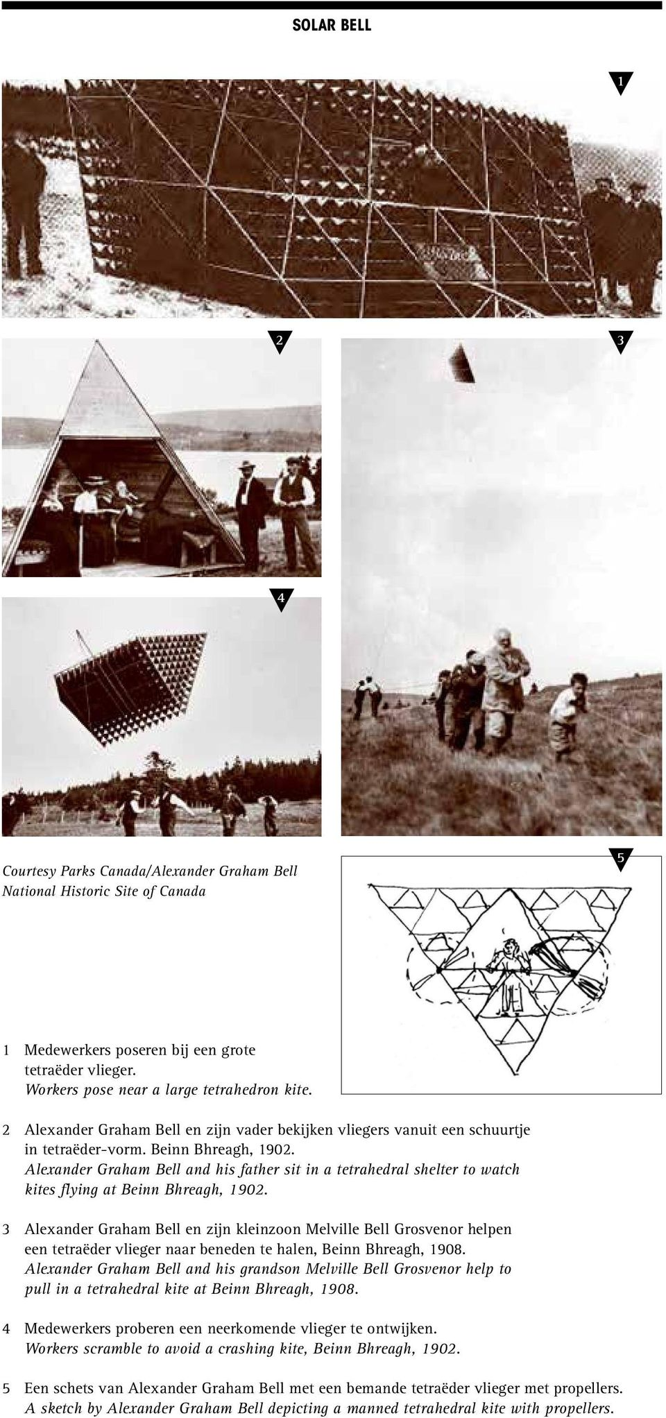 Alexander Graham Bell and his father sit in a tetrahedral shelter to watch kites flying at Beinn Bhreagh, 1902.