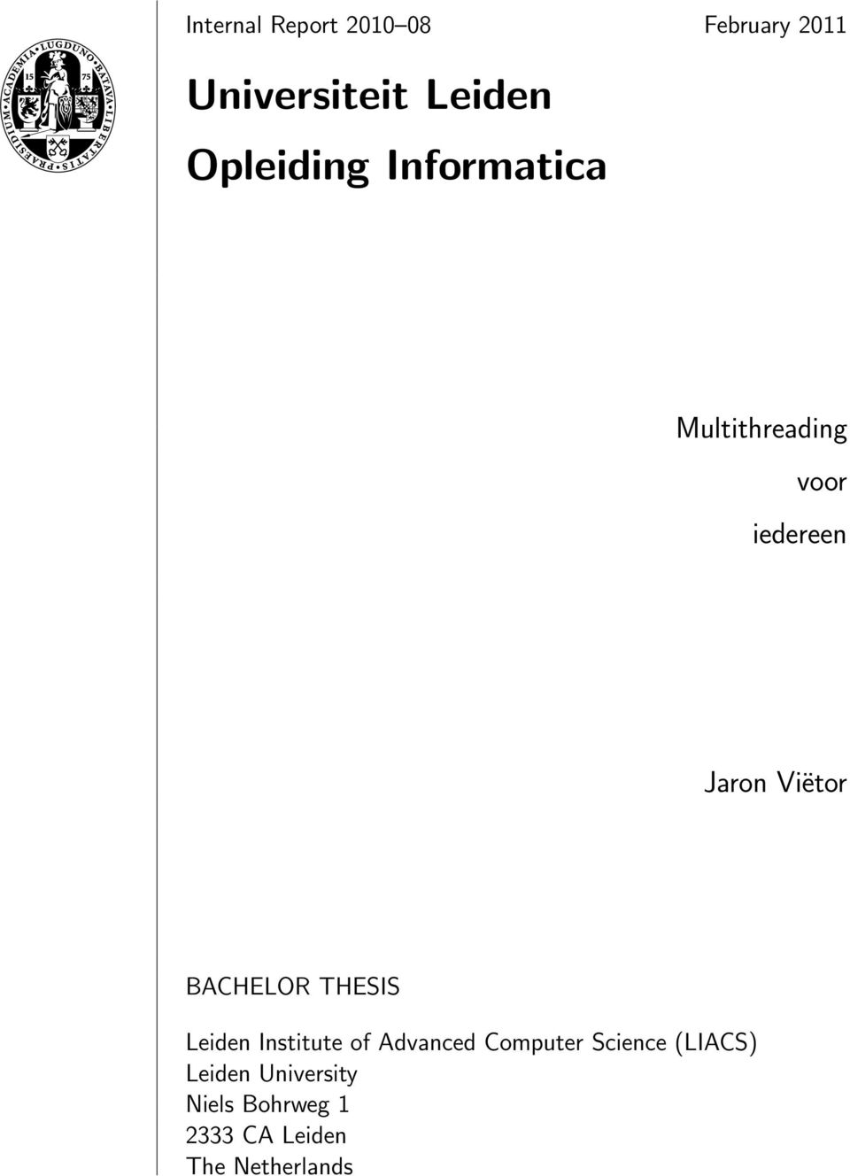 BACHELOR THESIS Leiden Institute of Advanced Computer Science