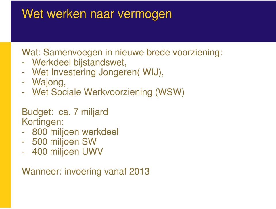 Sociale Werkvoorziening (WSW) Budget: ca.