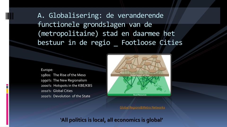 s: The New Regionalism 2000 s: Hotspots in the KBE/KBS 2010 s: Global Cities 2020 s: