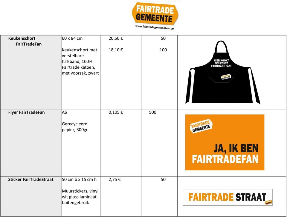 Flyer FairTradeFan A6 0,105 500 Gerecycleerd papier, 300gr Sticker