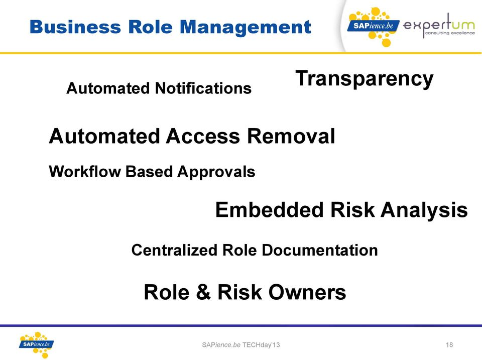 Approvals Embedded Risk Analysis Centralized Role