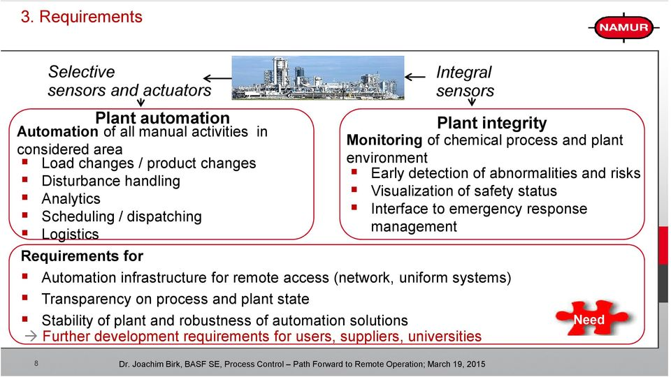 infrastructure for remote access (network, uniform systems) Transparency on process and plant state Stability of plant and robustness of automation solutions Further