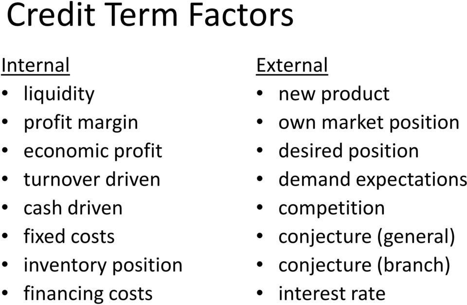 costs External new product own market position desired position demand