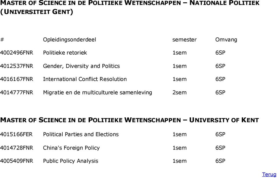 Migratie en de multiculturele samenleving 2sem 6SP MASTER OF SCIENCE IN DE POLITIEKE WETENSCHAPPEN UNIVERSITY OF KENT