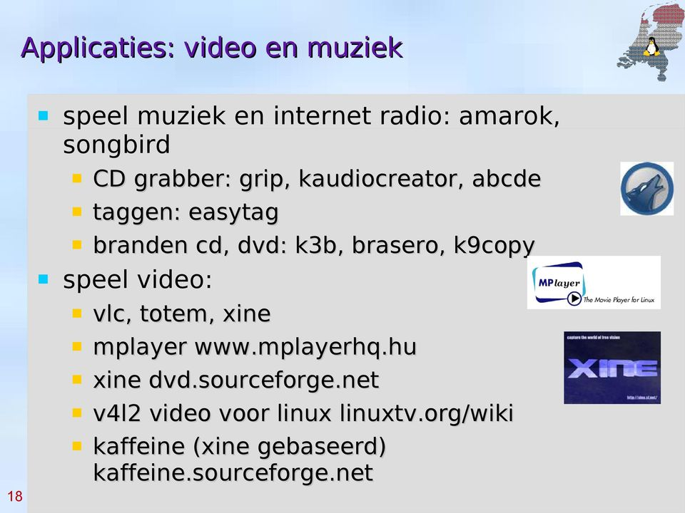 k9copy speel video: vlc, totem, xine mplayer www.mplayerhq.hu xine dvd.sourceforge.