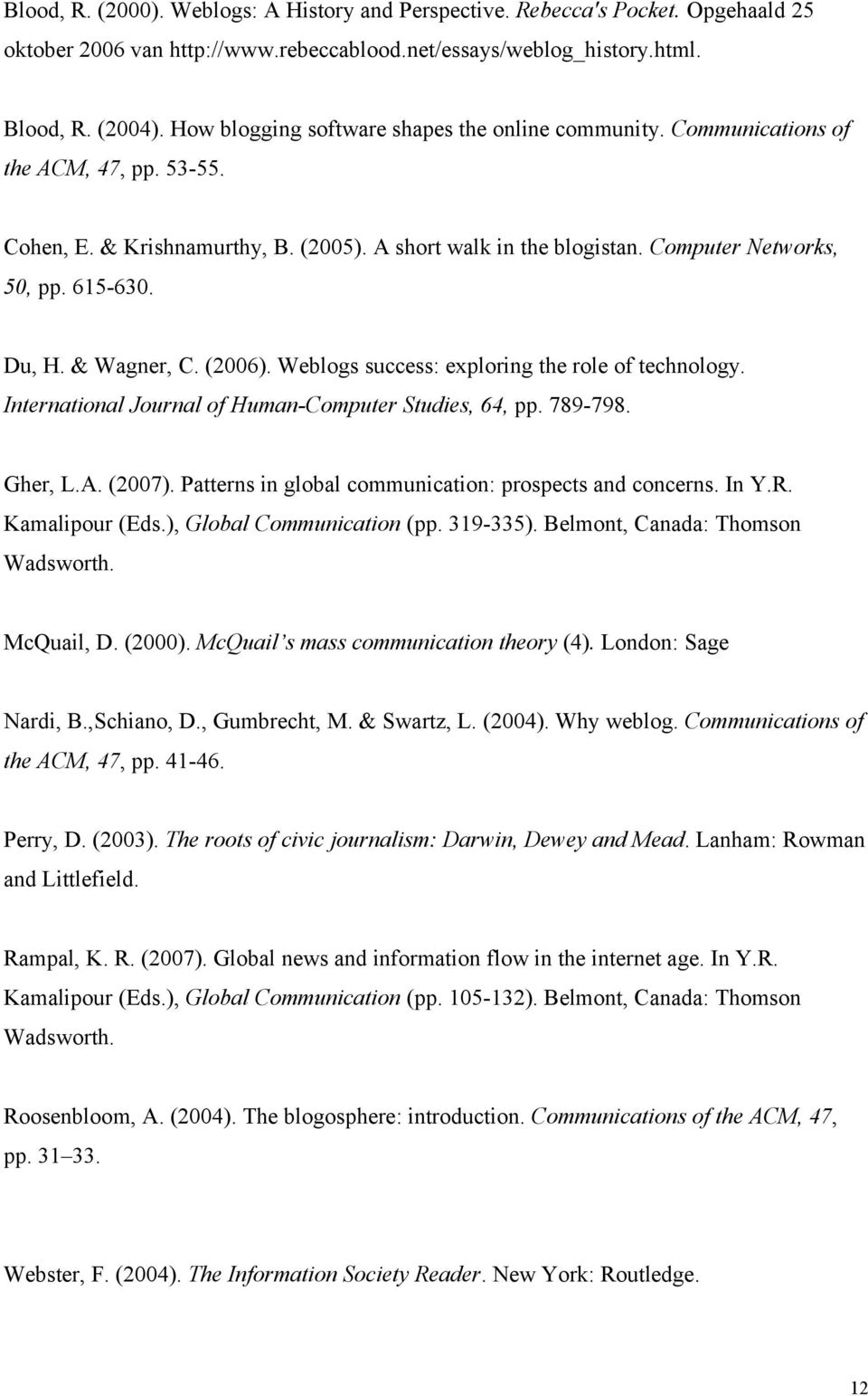Du, H. & Wagner, C. (2006). Weblogs success: exploring the role of technology. International Journal of Human-Computer Studies, 64, pp. 789-798. Gher, L.A. (2007).