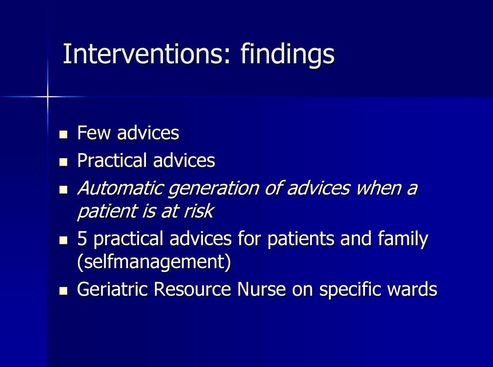 risk 5 practical advices for patients and family