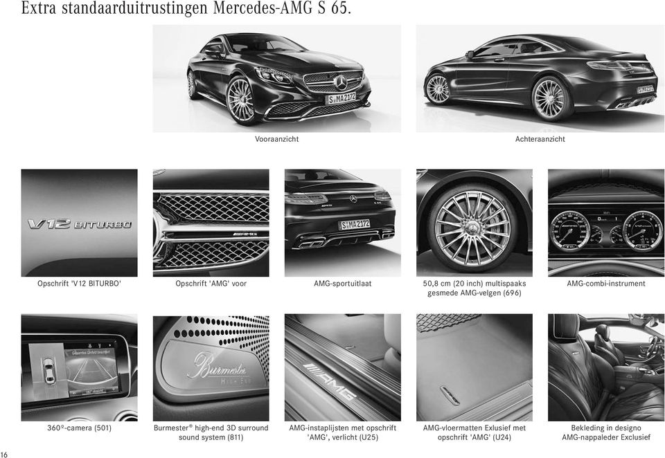 multispaaks gesmede AMG-velgen (696) AMG-combi-instrument 360º-camera (501) Burmester high-end 3D surround