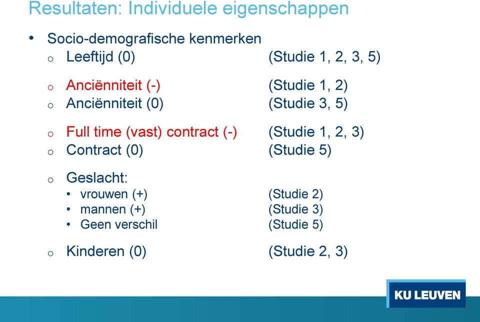Full time (vast) contract (-) (Studie 1, 2, 3) o Contract (0) (Studie 5) o Geslacht: