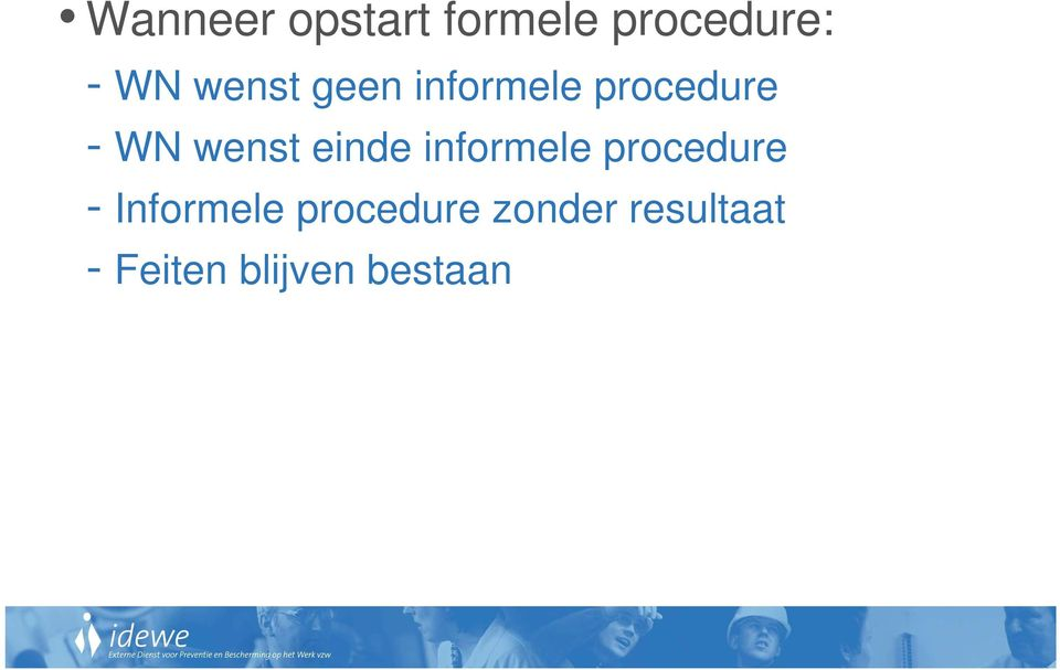 einde informele procedure - Informele