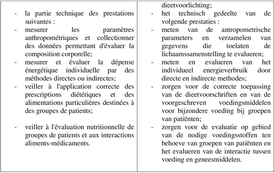 de patients; - veiller à l'évaluation nutritionnelle de groupes de patients et aux interactions aliments-médicaments.