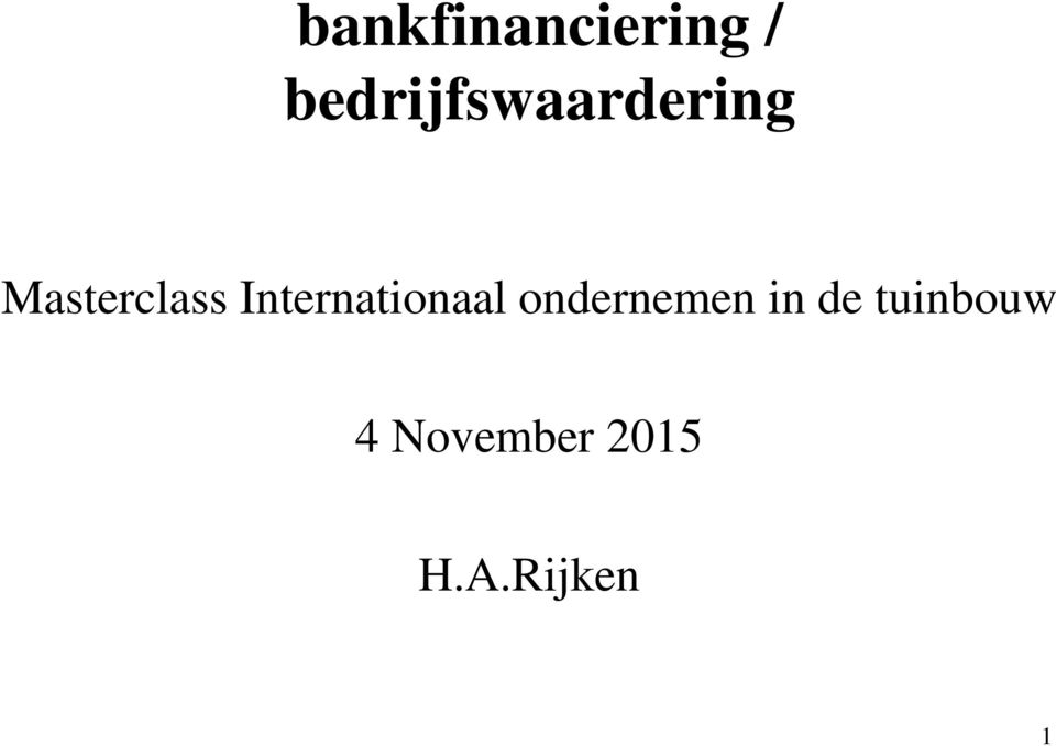 Masterclass Internationaal