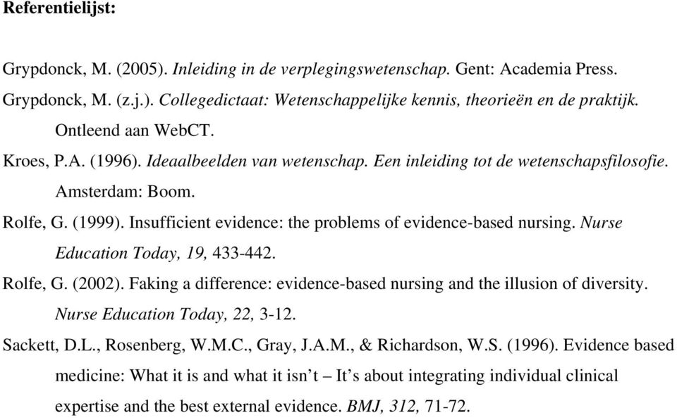 Insufficient evidence: the problems of evidence-based nursing. Nurse Education Today, 19, 433-442. Rolfe, G. (2002). Faking a difference: evidence-based nursing and the illusion of diversity.