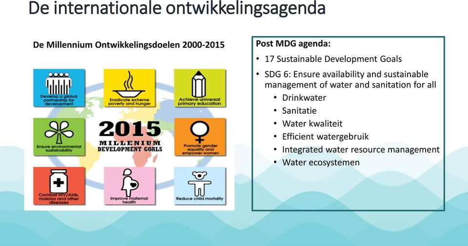 sustainable management of water and sanitation for all Drinkwater Sanitatie Water