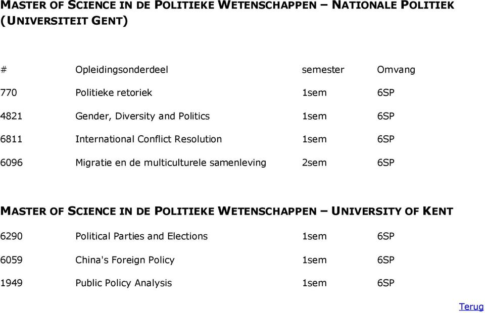Migratie en de multiculturele samenleving 2sem 6SP MASTER OF SCIENCE IN DE POLITIEKE WETENSCHAPPEN UNIVERSITY OF
