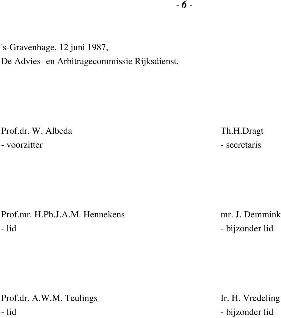 Dragt - voorzitter - secretaris Prof.mr. H.Ph.J.A.M. Hennekens mr.