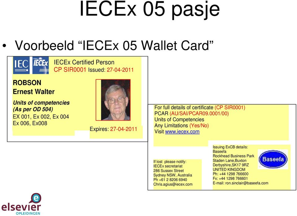 0001/00) Units of Competencies Any Limitations (Yes/No) Visit www.iecex.