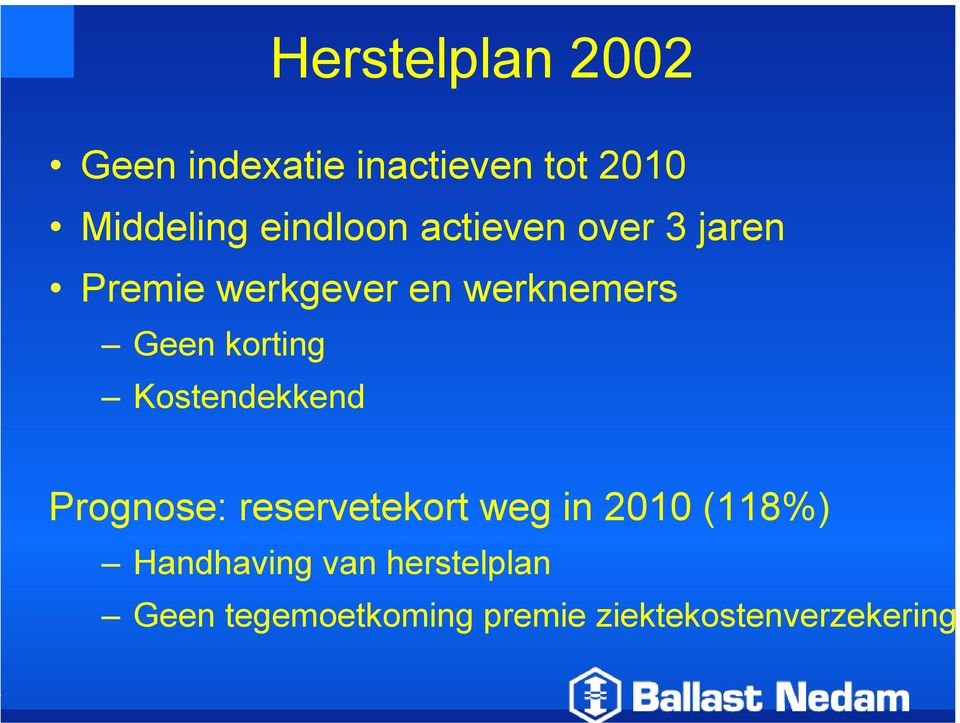 korting Kostendekkend Prognose: reservetekort weg in 2010 (118%)