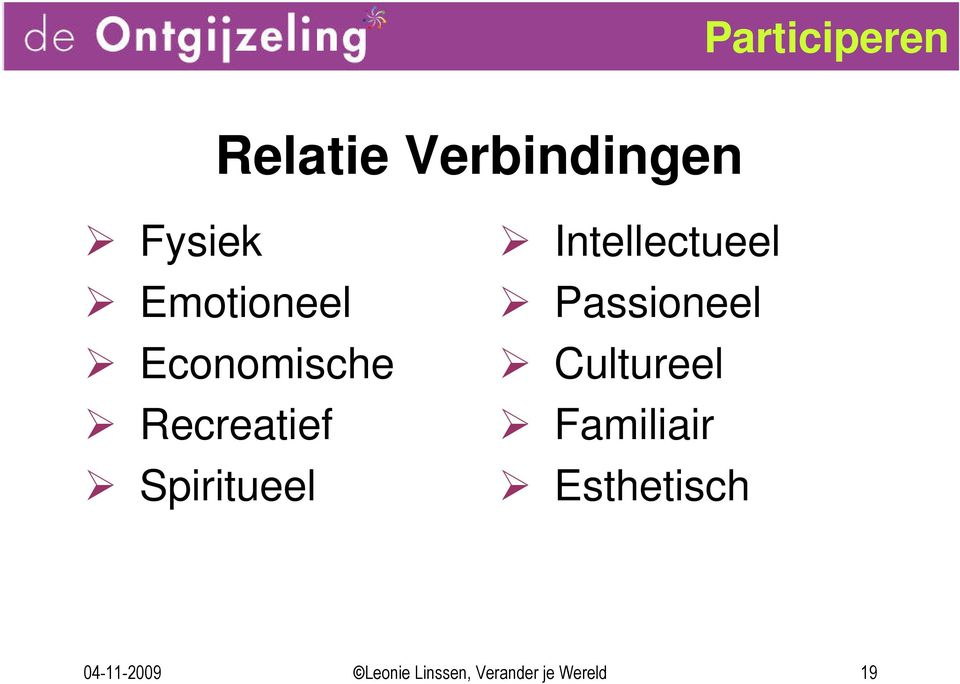 Intellectueel Passioneel Cultureel Familiair