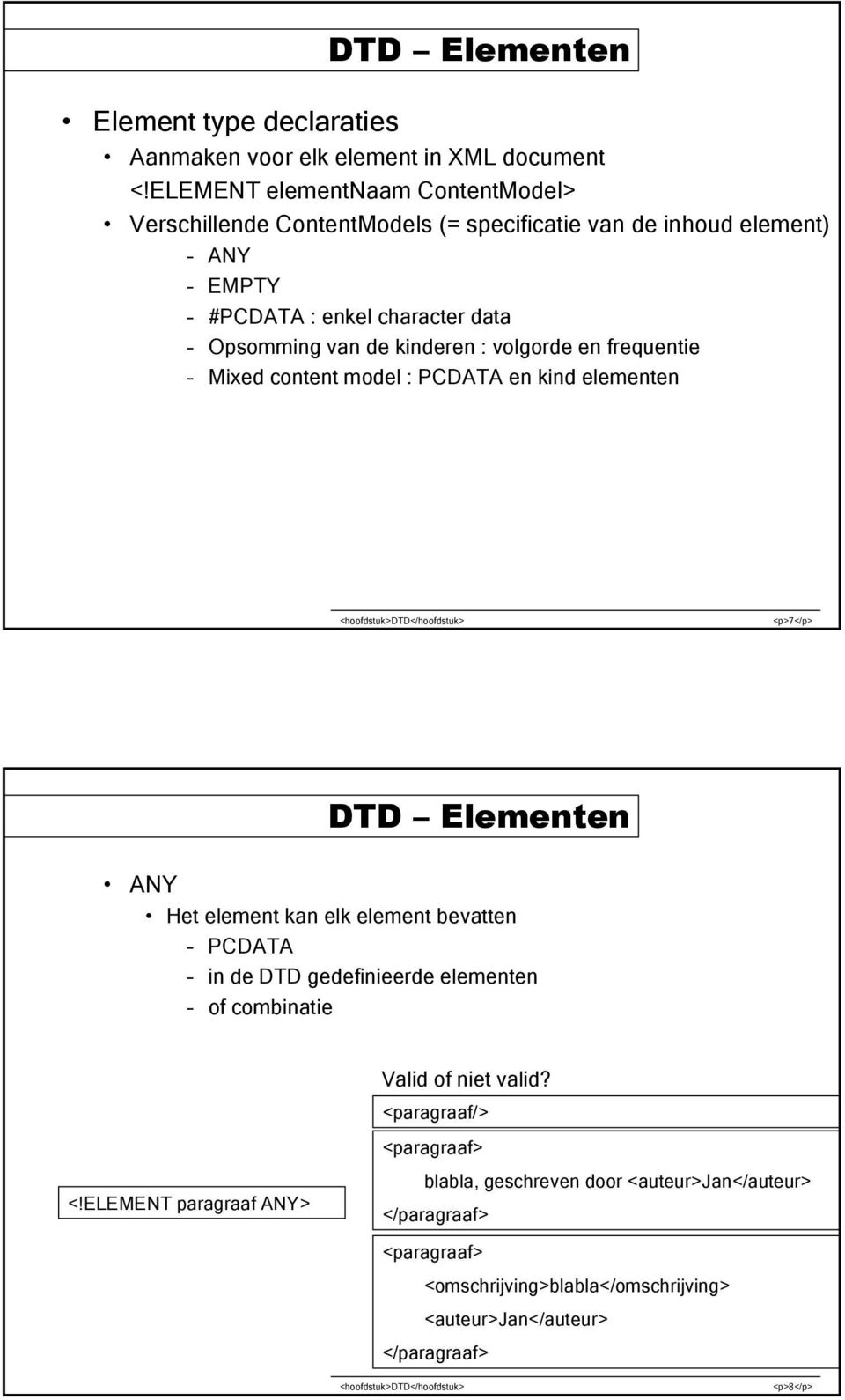 kinderen : volgorde en frequentie Mixed content model : PCDATA en kind elementen <p>7</p> DTD Elementen ANY Het element kan elk element bevatten PCDATA in de DTD