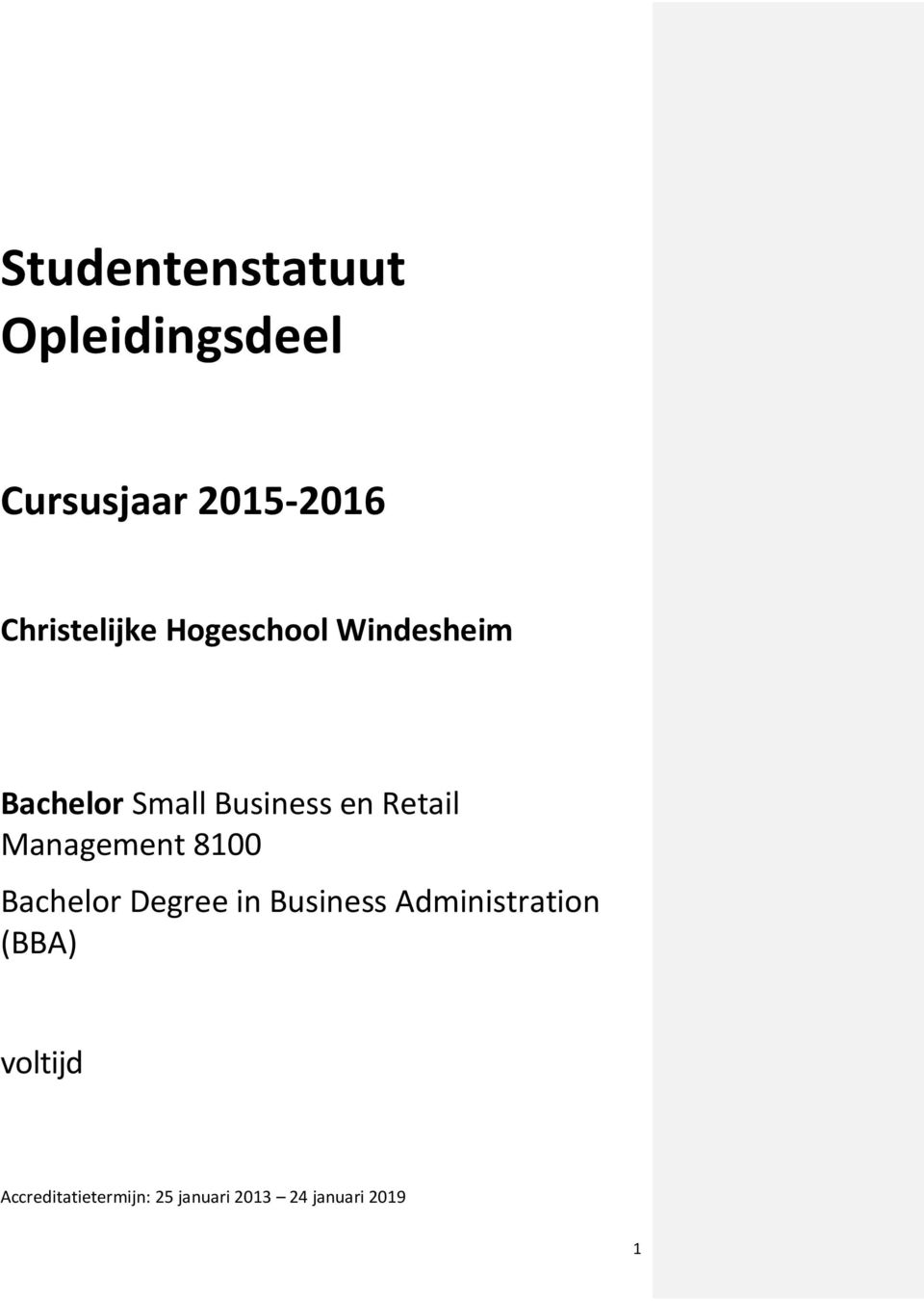 Retail Management 8100 Bachelor Degree in Business