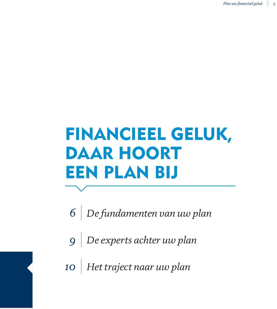 fundamenten van uw plan 9 De experts