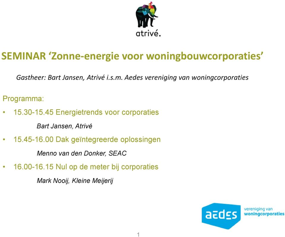 45 Energietrends voor corporaties Bart Jansen, Atrivé 15.45-16.