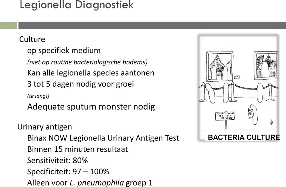 ) Adequate sputum monster nodig Urinary antigen Binax NOW Legionella Urinary Antigen Test
