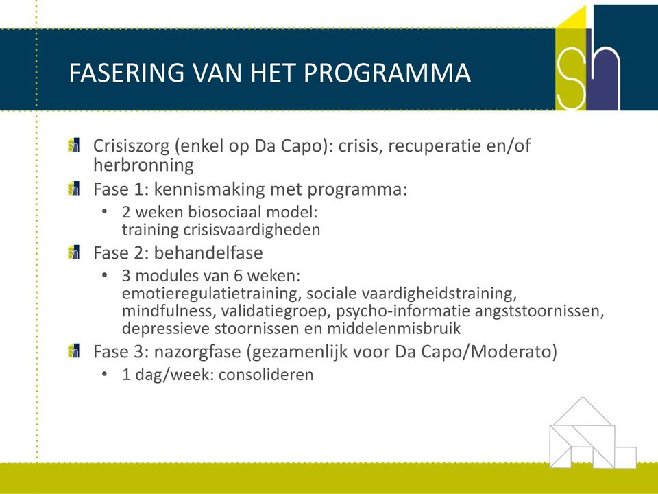 emotieregulatietraining, sociale vaardigheidstraining, mindfulness, validatiegroep, psycho-informatie
