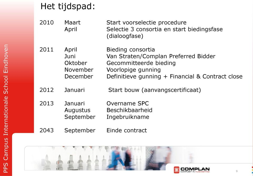 bieding November Voorlopige gunning December Definitieve gunning + Financial & Contract close 2012 Januari Start
