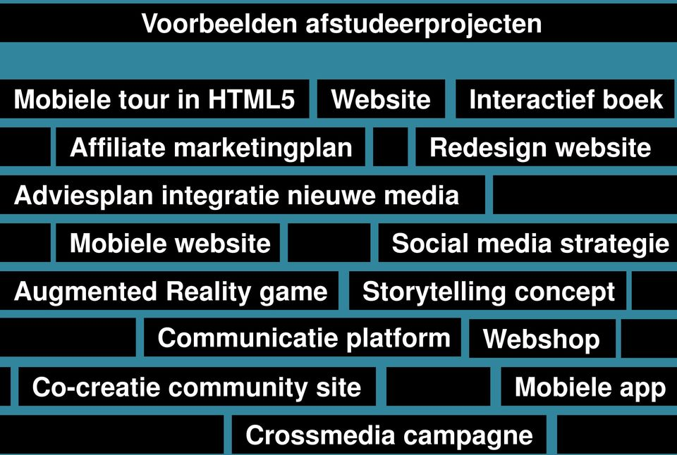 Mobiele website Social media strategie Augmented Reality game Storytelling