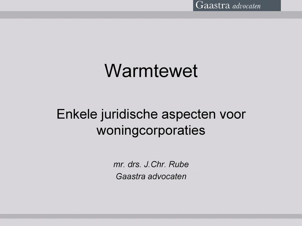 woningcorporaties mr.