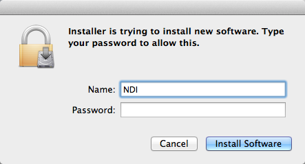 Click on Install Enter your OS X password to allow the program to be installed.