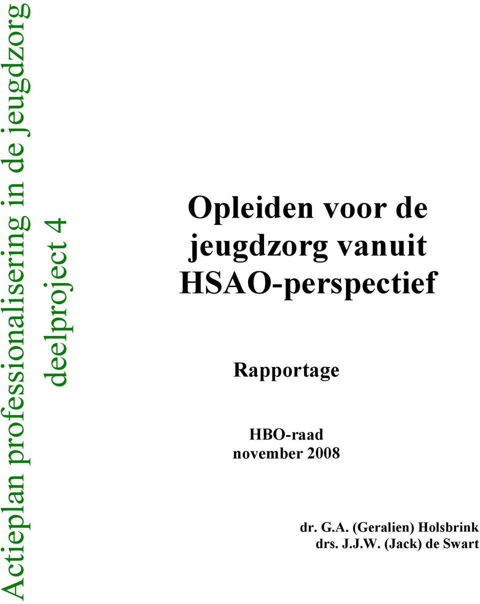 HSAO-perspectief Rapportage HBO-raad november 2008
