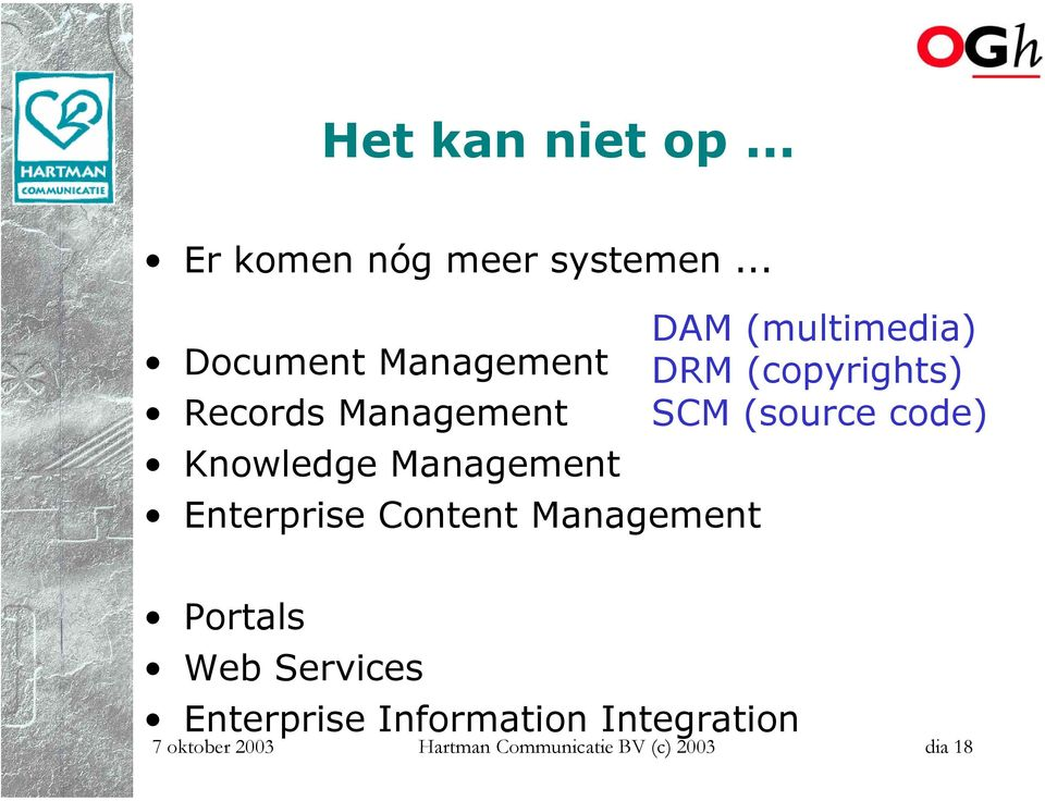Content Management DAM (multimedia) DRM (copyrights) SCM (source code)