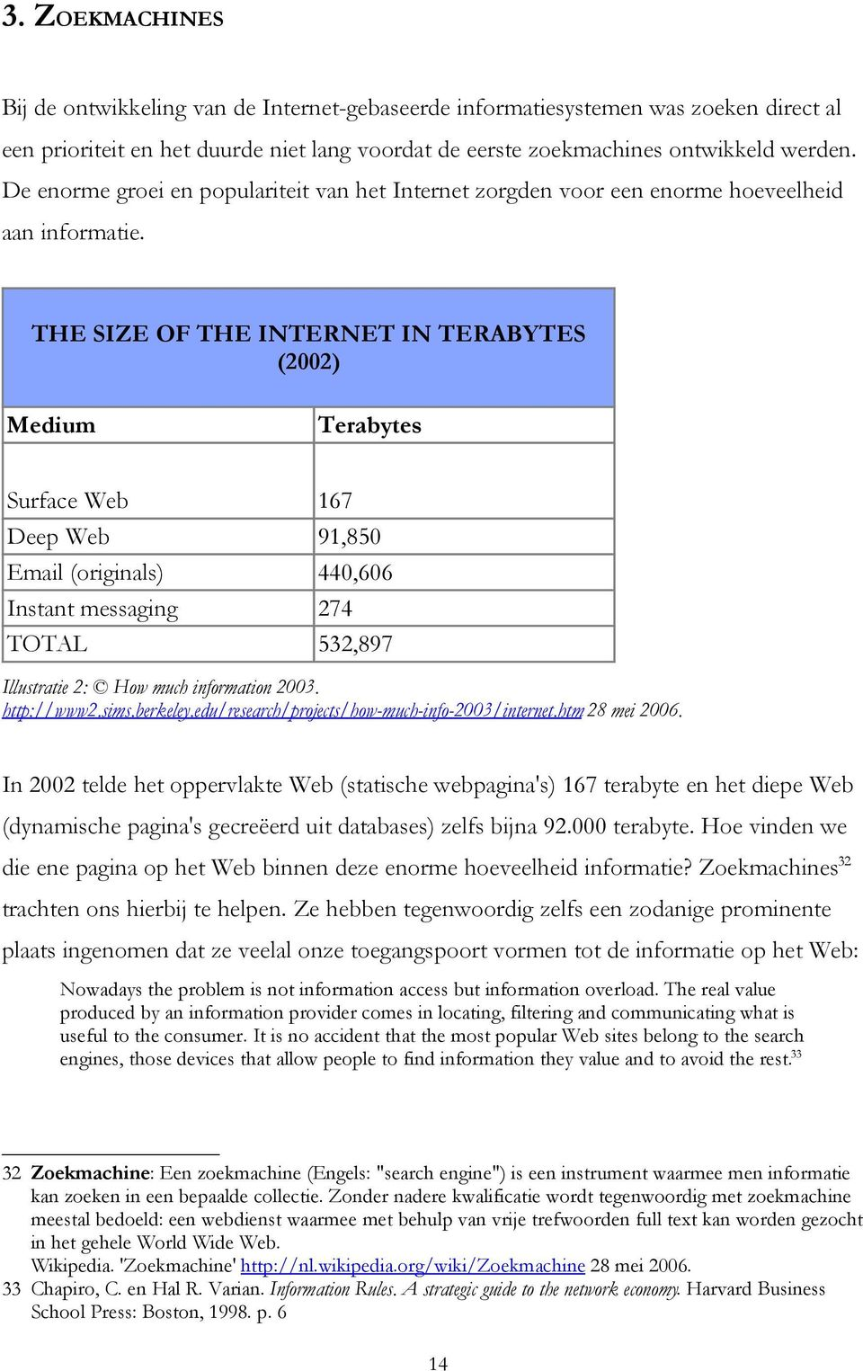 THE SIZE OF THE INTERNET IN TERABYTES (2002) Medium Terabytes Surface Web 167 Deep Web 91,850 Email (originals) 440,606 Instant messaging 274 TOTAL 532,897 Illustratie 2: How much information 2003.