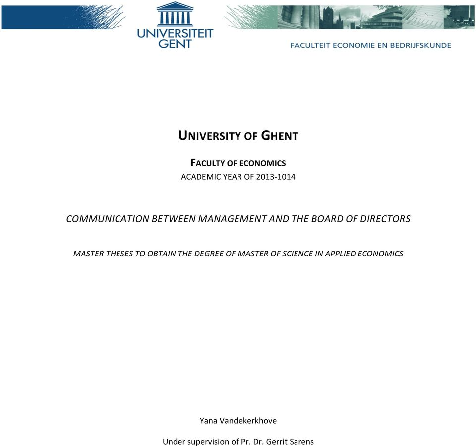 DIRECTORS MASTER THESES TO OBTAIN THE DEGREE OF MASTER OF SCIENCE