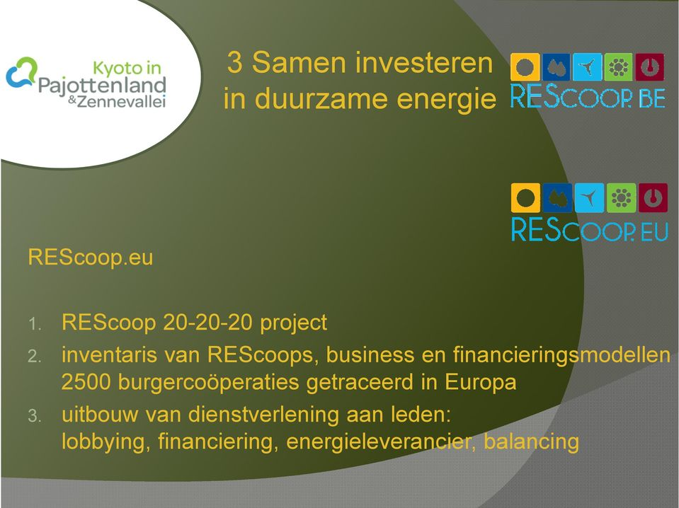 inventaris van REScoops, business en financieringsmodellen 2500