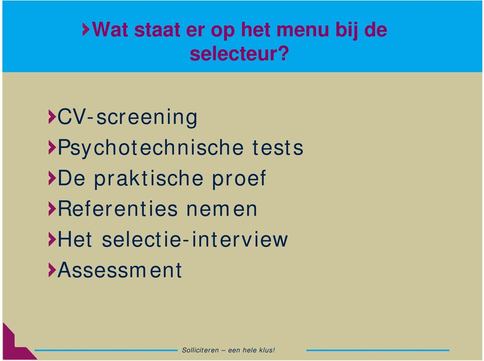 CV-screening Psychotechnische tests
