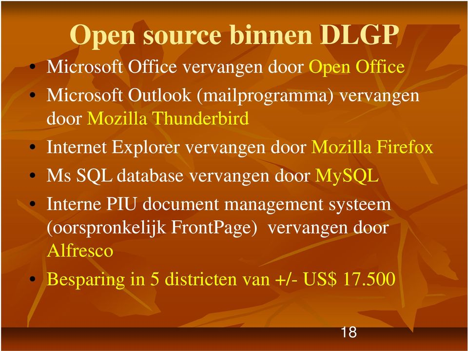 Mozilla Firefox Ms SQL database vervangen door MySQL Interne PIUd document management
