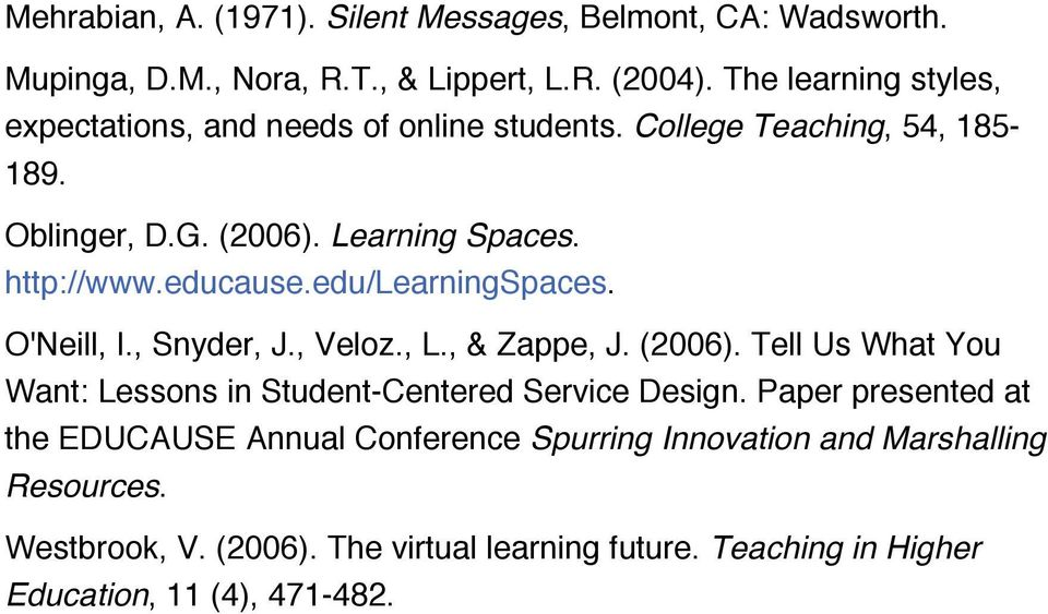 educause.edu/learningspaces. O'Neill, I., Snyder, J., Veloz., L., & Zappe, J. (2006). Tell Us What You Want: Lessons in Student-Centered Service Design.