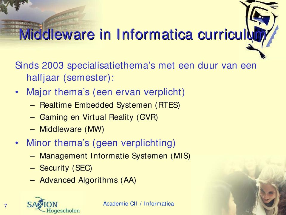 Systemen (RTES) Gaming en Virtual Reality (GVR) Middleware (MW) Minor thema s (geen