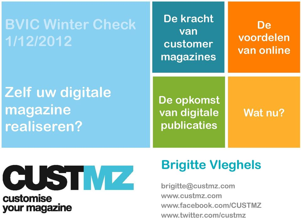 De opkomst van digitale publicaties What can CUSTMZ offer you?