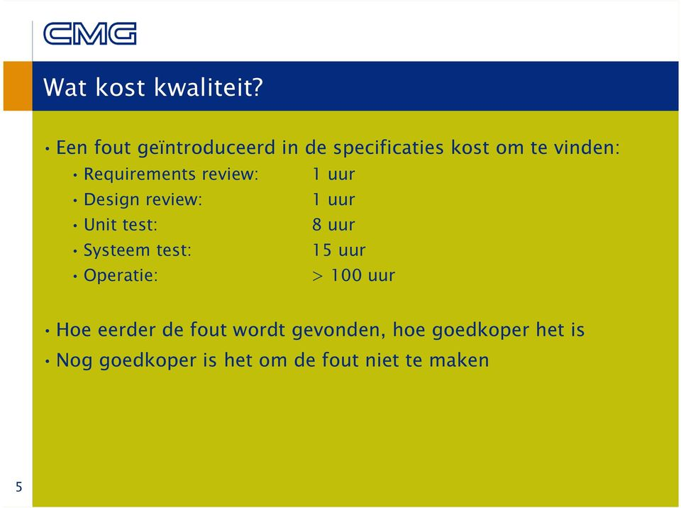 Requirements review: 1 uur Design review: 1 uur Unit test: 8 uur Systeem